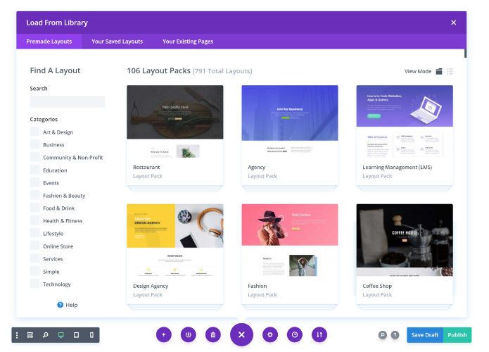 Divi Builder Library of Layouts