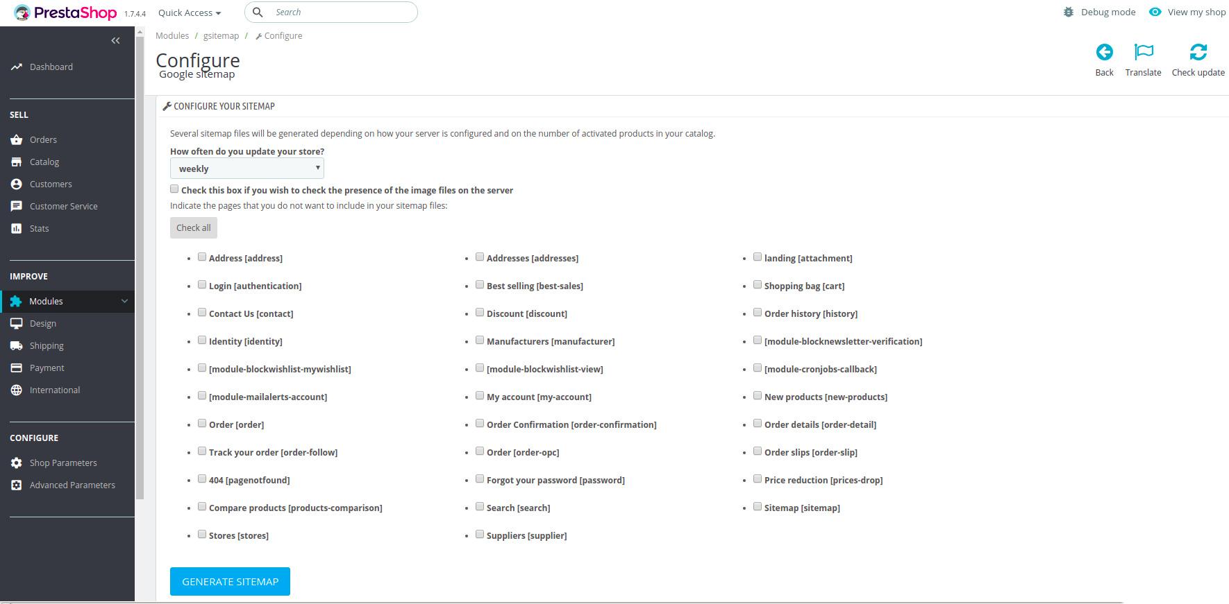 PrestaShop 1.7'de Sitemap Site Haritası Nasıl Oluşturulur