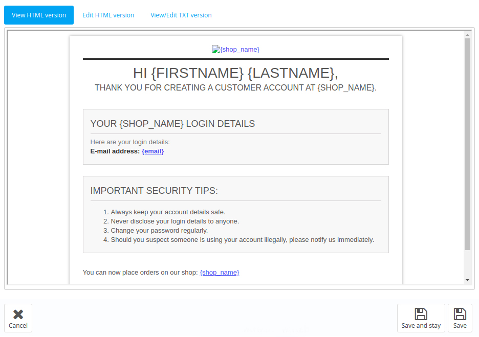 PrestaShop email templates in admin panel 3