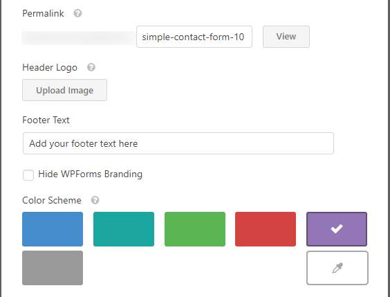 WPForms Builder templates pack addon settings