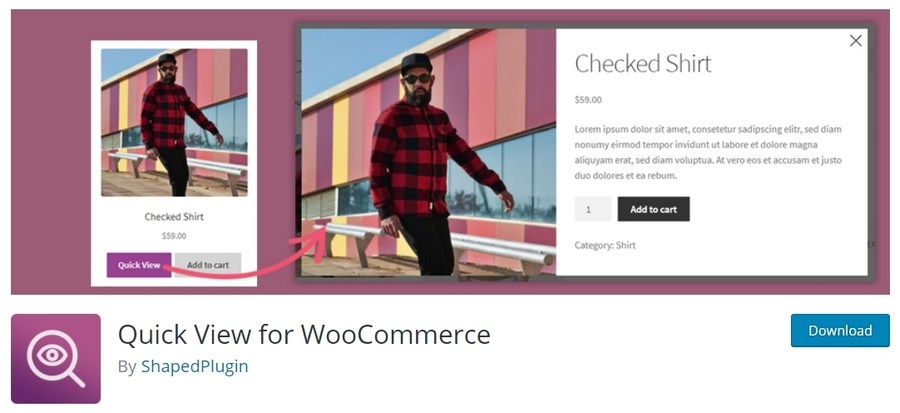 Quick view for WooCommerce plugin