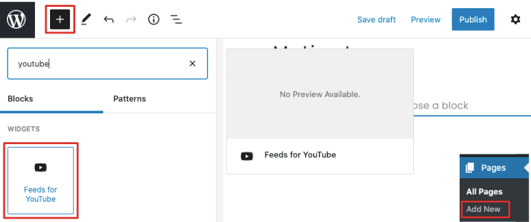 feeds for youtube block